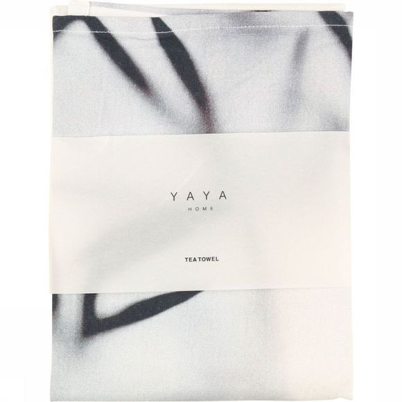 Yaya Home Handdoek Tea Towel With Bamboo Print Gebroken Wit
