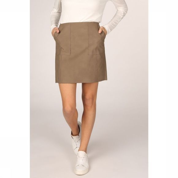 Yaya Rok Faux Leather Mini Front Pockets And Raw Hems Middenbruin