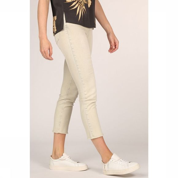 Yaya Jeans Colored Frayed Hems And Print On Waistband Lichtgroen