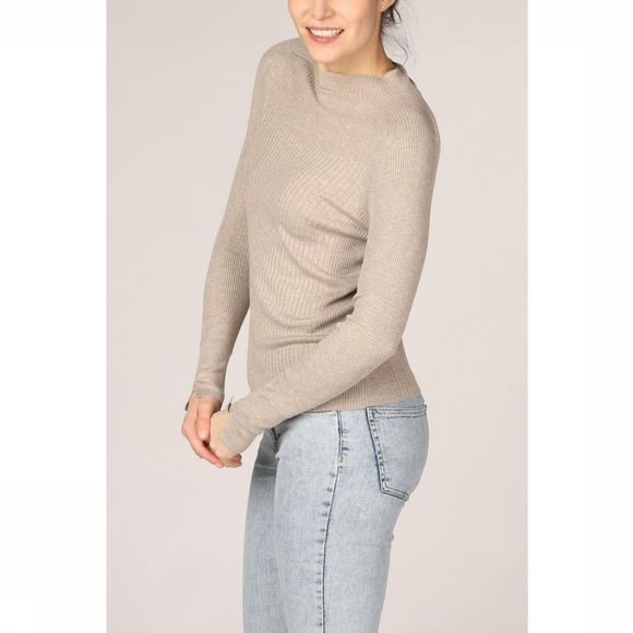 Yaya Trui Mix Ribbed Mock Neck Raglan Sleeves Zandbruin