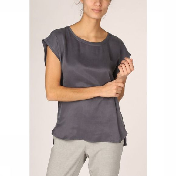 Yaya T-Shirt Fabric Mix Rounded Hems Middenblauw