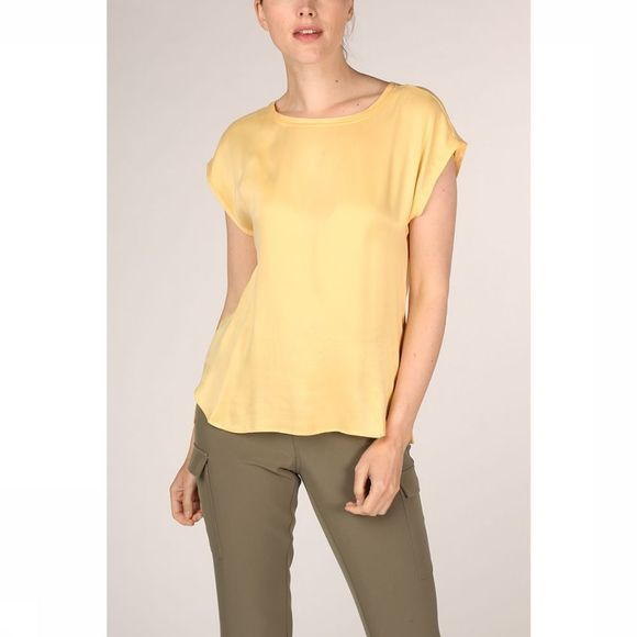 Yaya T-Shirt Fabric Mix Rounded Hems Lichtgeel