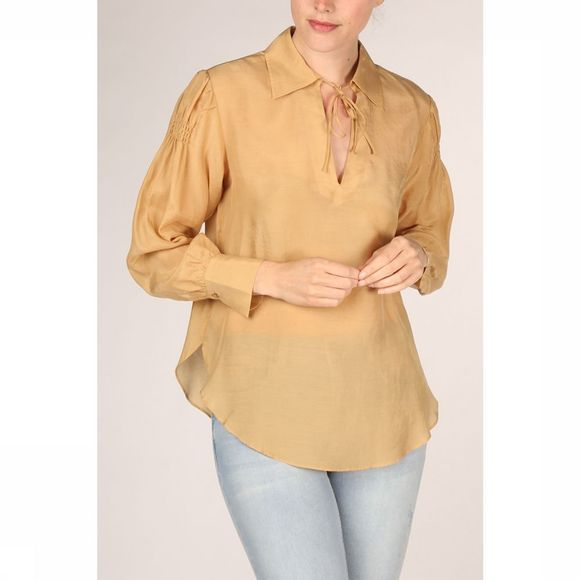 Yaya Blouse V-Neck Puff Sleeves And Smocked Detail Lichtgeel