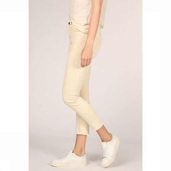 Yaya Jeans Colored Frayed Hems And Print On Waistband Lichtgeel