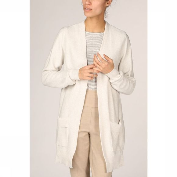 Yaya Cardigan Cotton Ribbed Folded Pockets Lichtgrijs Mengeling