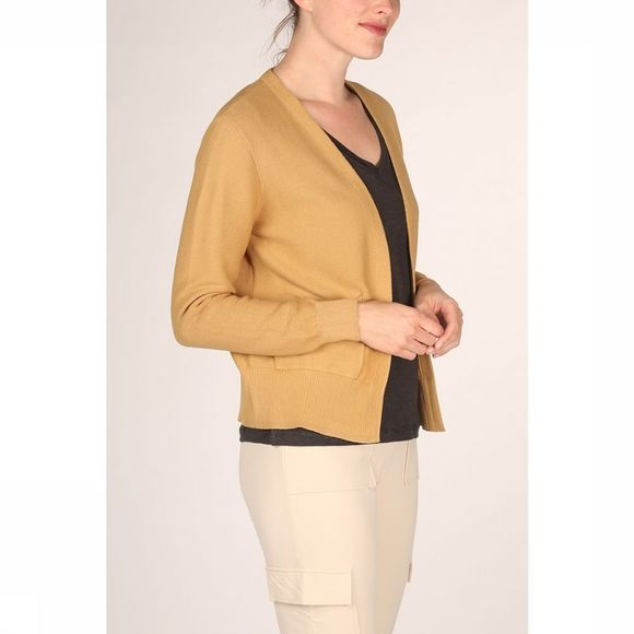 Yaya Cardigan Cotton Ribbed Front Pockets Donkergeel