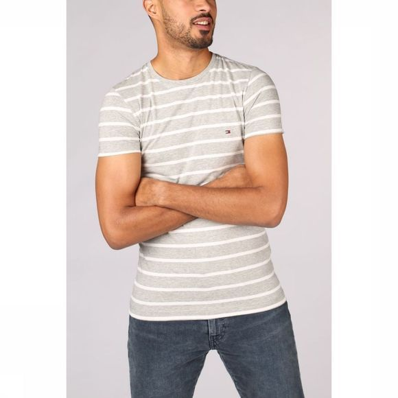 Tommy Hilfiger T-Shirt stretch slim light grey/white