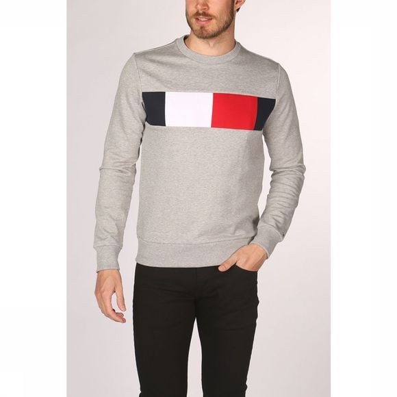 Tommy Hilfiger Pullover Th Flag Chest Logo Sw Light Grey Mixture