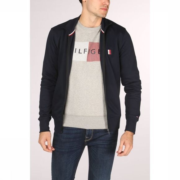 Tommy Hilfiger Cardigan Tommy Logo Ziprough Donkerblauw