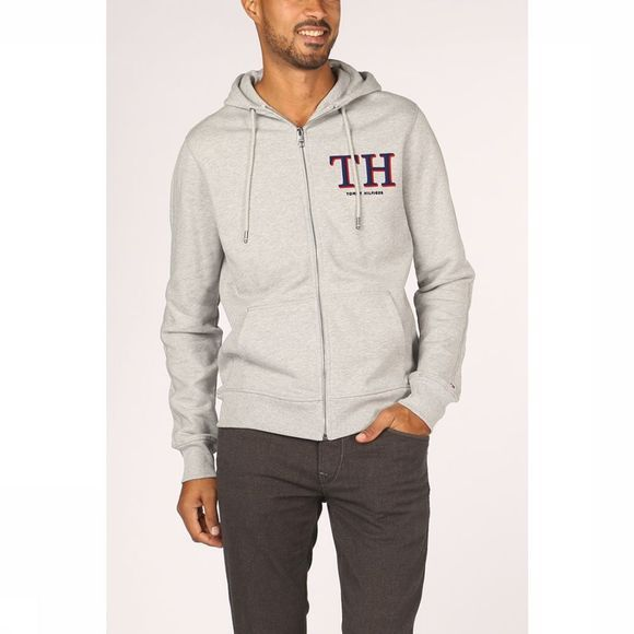 Tommy Hilfiger Cardigan Monogram Hooded Ziprough Gris Clair Mélange