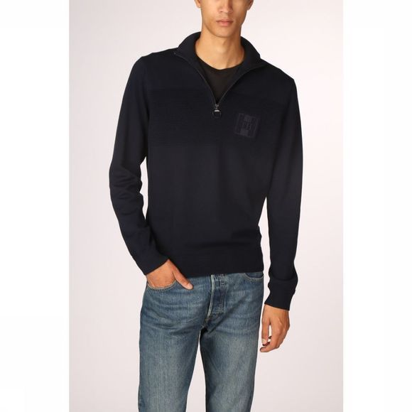 Tommy Hilfiger Trui Placed Structure  Zip Mock Donkerblauw