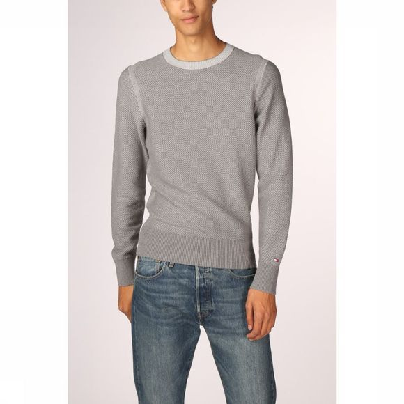 Tommy Hilfiger Pull Two Color Structureder Gris Moyen