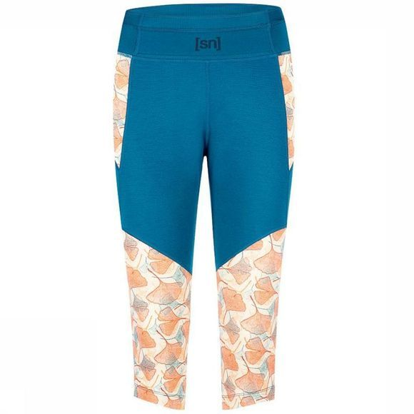 Broek W Active Leaves 3/4 Tight Printed