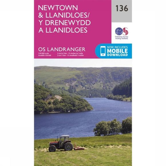 Ordnance Survey Newtown /Lllanidloes Landr 136 2016