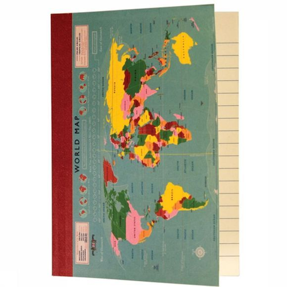REX INTERNATIONAL Notebook*A6 Vintage World Map 2016