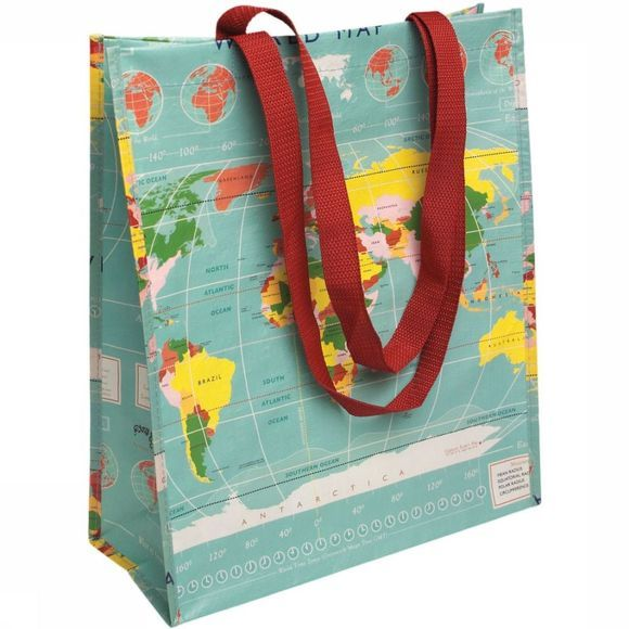 REX INTERNATIONAL Shopper Zak Vintage World Map 2015
