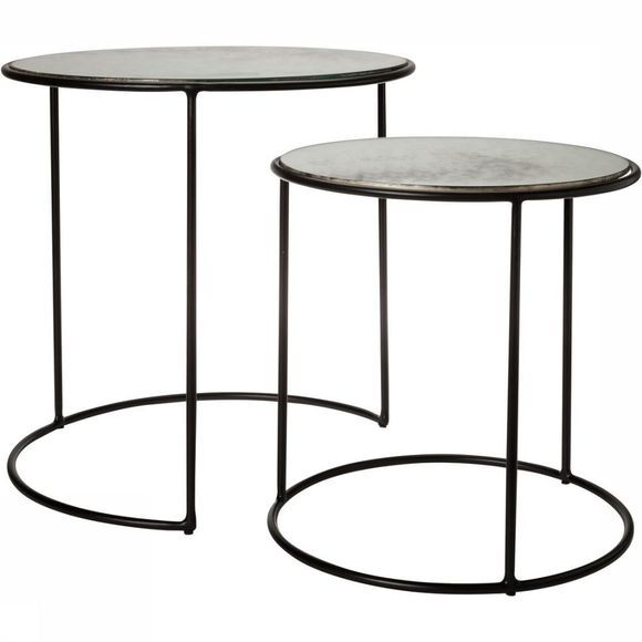 Tafel Nesting Tables Antique Glass S/2