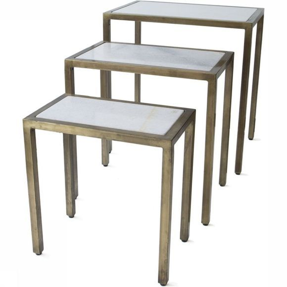 Yaya Home Tafels Marble And Brass Table Set Of 3 59X40X61Cm Geen kleur