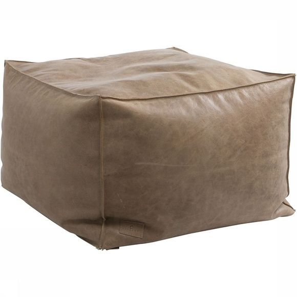Yaya Home Poef Square Leather Puff 60X60X40 Taupe