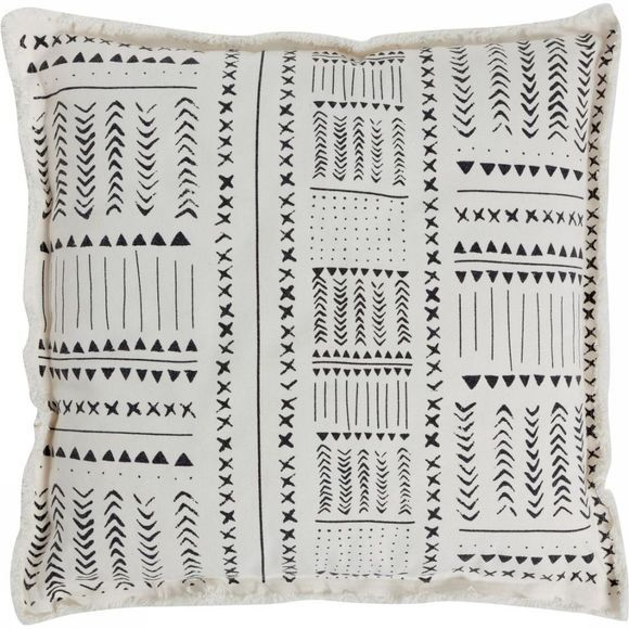 Yaya Home Cushion African Blockprint 55X55 Cm Wit