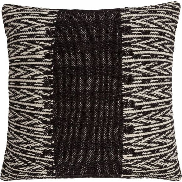 Yaya Home Kussen With Knitted Pattern Zwart/Wit