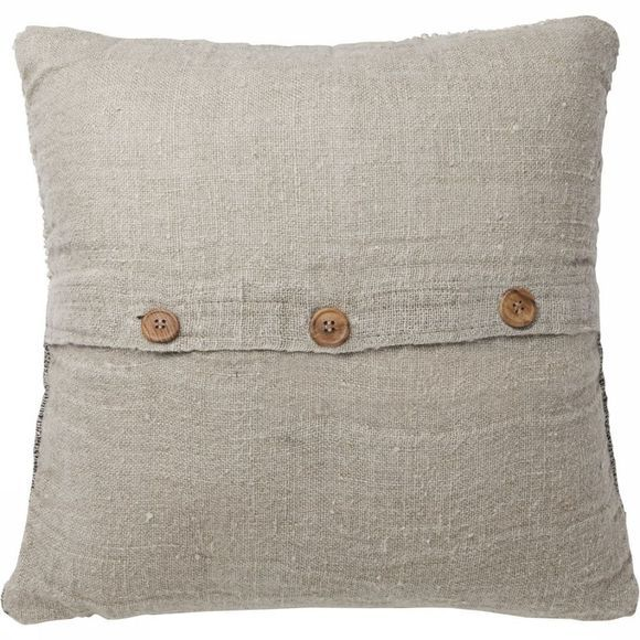 Kussen Linen Cushion With Wooden Buttons