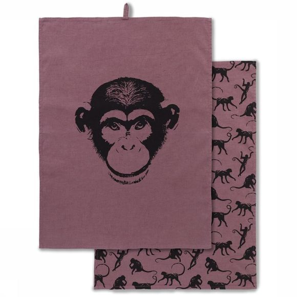 Yaya Home Handdoek Pack of 2 Monkey Print Donkerblauw