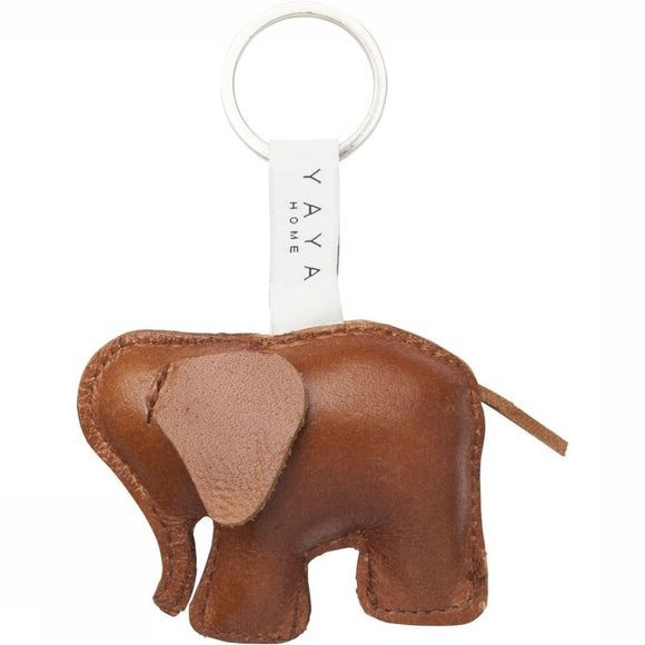 Yaya Home Leder Buffalo Leather Elephant Keychain Donkerbruin