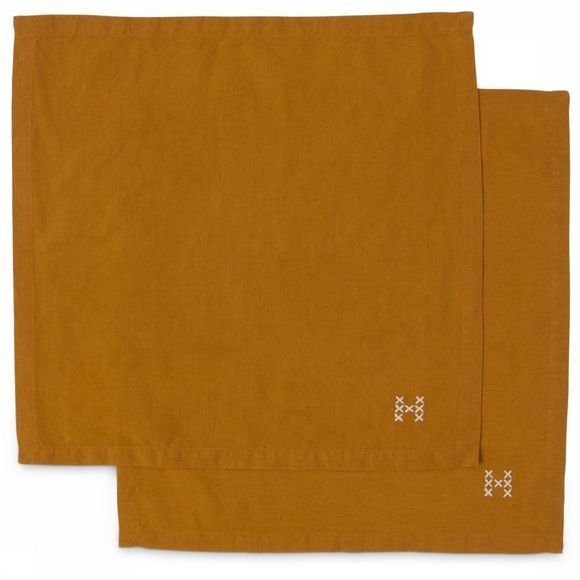 Yaya Home Textiel Accessoire Pack Of Two Napkins With Embroidery Roest