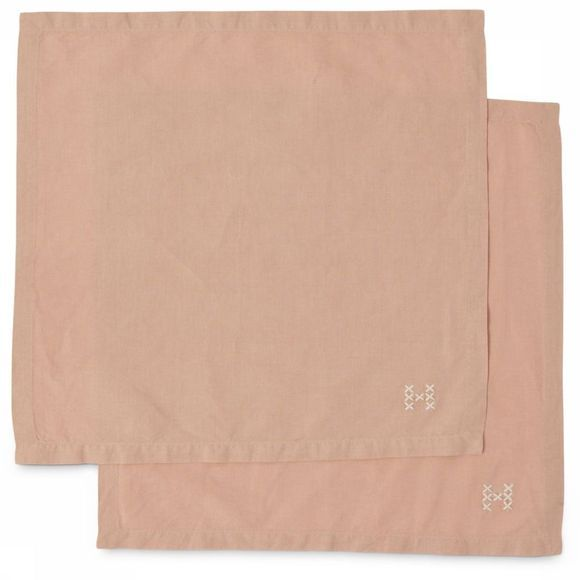 Yaya Home Textiel Accessoire Pack Of Two Napkins With Embroidery Lichtroze