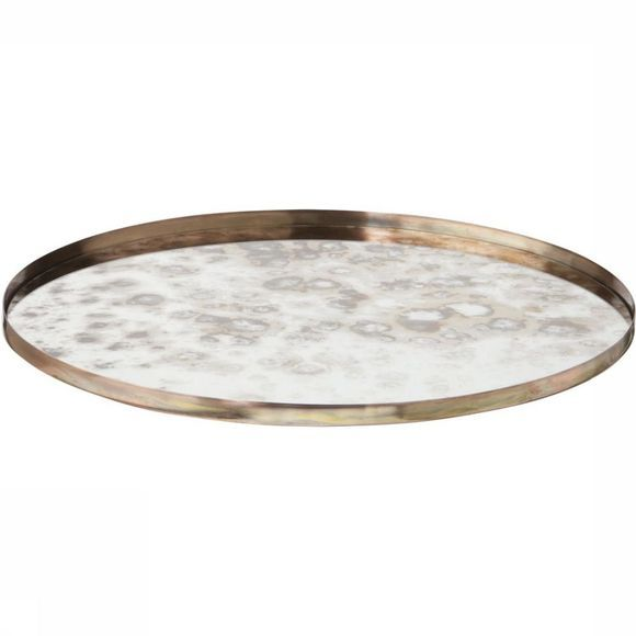 Yaya Home Servies Round Vintage Look Mirrored Tray - Large Koper
