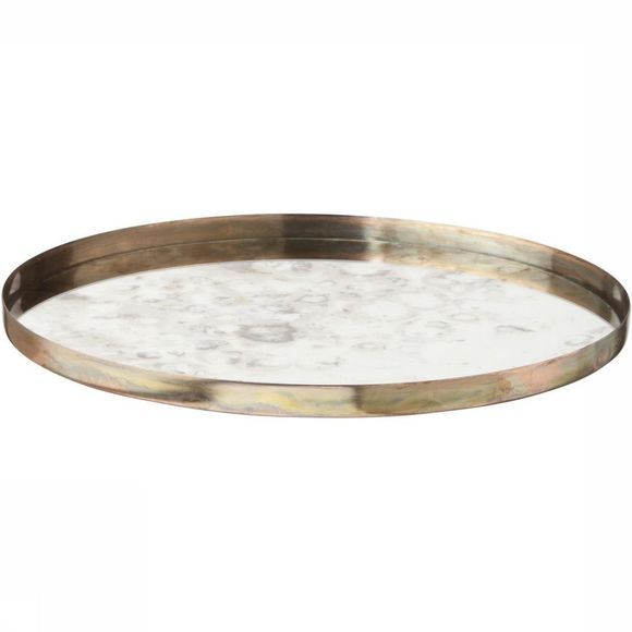 Yaya Home Servies Round Vintage Look Mirrored Tray - Small Koper