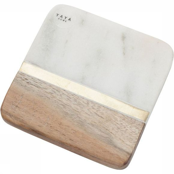Yaya Home Servies Wooden Marble Coaster Groen