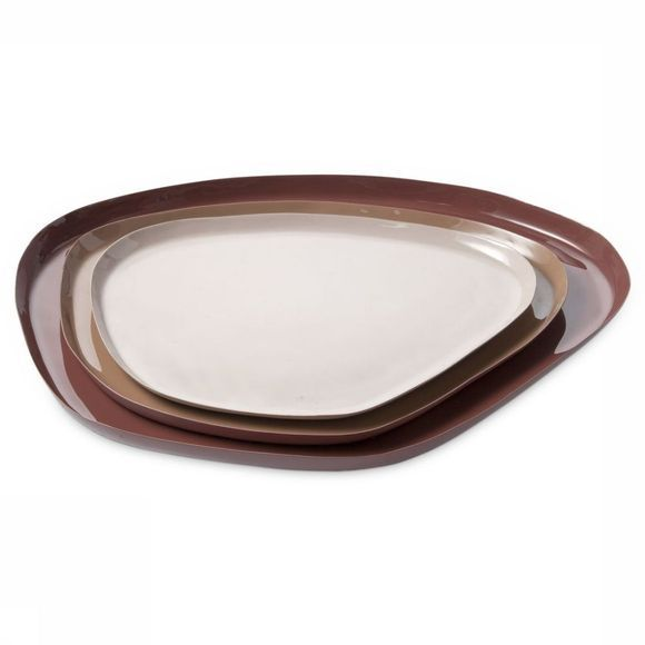 Yaya Home Servies Enamel Tray - Large Bordeaux