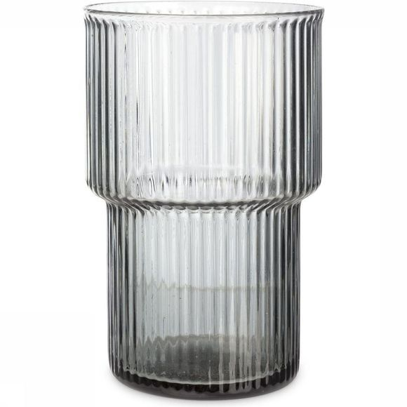 Yaya Home Servies Ribbed Glass - Large Lichtgrijs