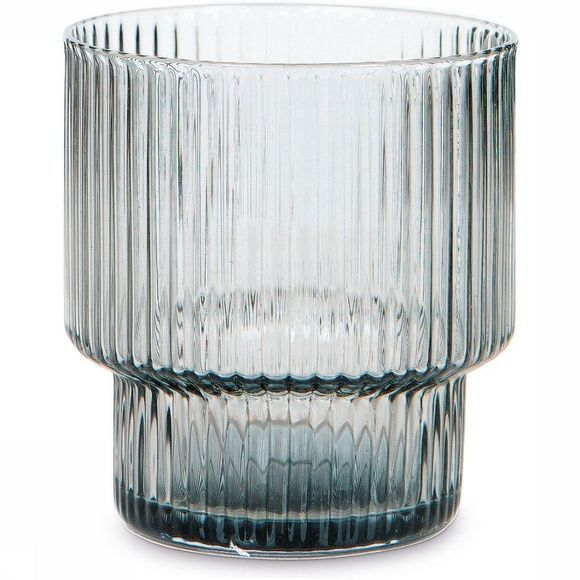 Yaya Home Servies Ribbed Glass - Small Lichtgrijs
