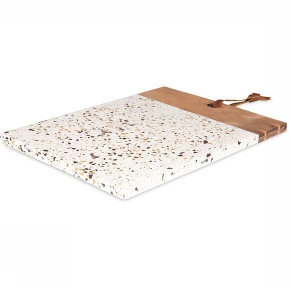 Yaya Home Servies Terrazzo Chopping Board With Wooden Handle Gebroken Wit