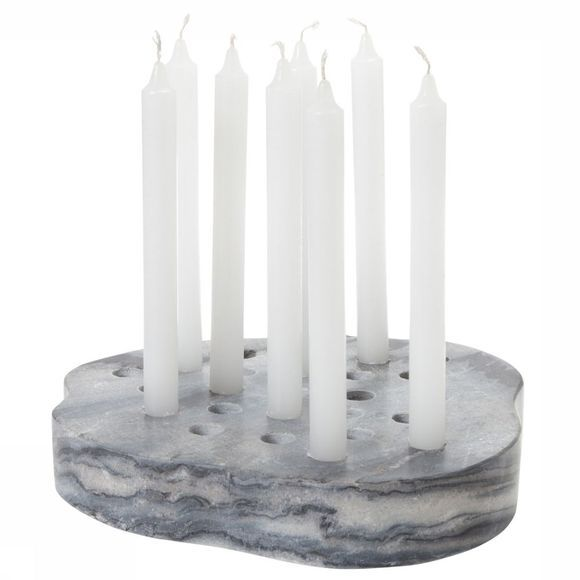 Yaya Home Kaars  Marble Candle Holder Block Middengrijs
