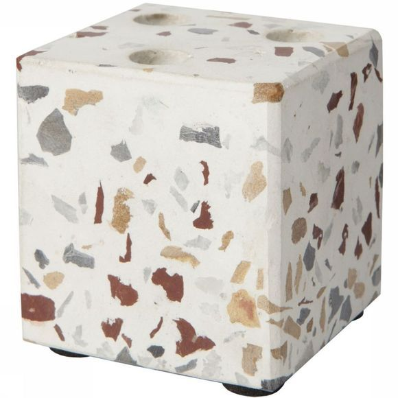 Yaya Home Kaarsenhouder Cube Terrazzo Candleholder For 3 Mini Candles Assortiment