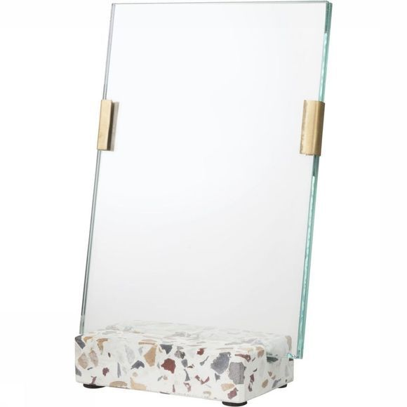 Yaya Home Fotolijst Glass Photoframe With Brass Clips In Terrazzo Stand Assortiment