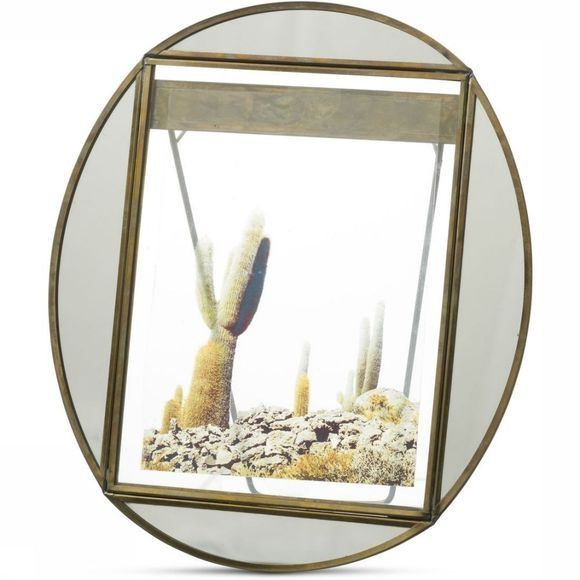 Yaya Home Kader Oval Photoframe With Mirror Edge - 20 X 25 Brons