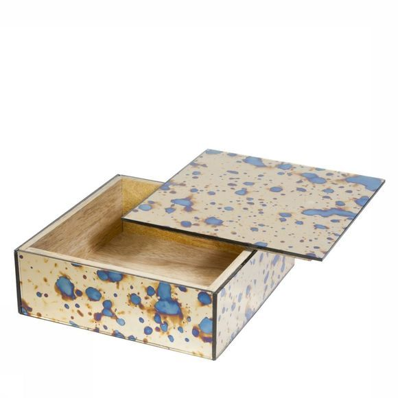 Opbergen Mirrored Golden Box With Stained Look - Square