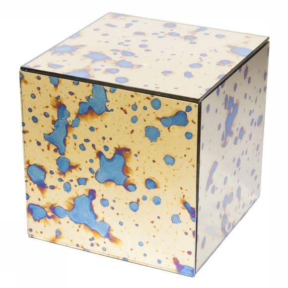 Opbergen Mirrored Golden Box With Stained Look - Cube