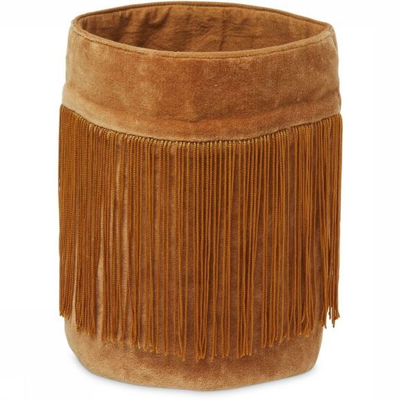 Yaya Home Kleine Opberger Velvet Basket With Fringes Koper