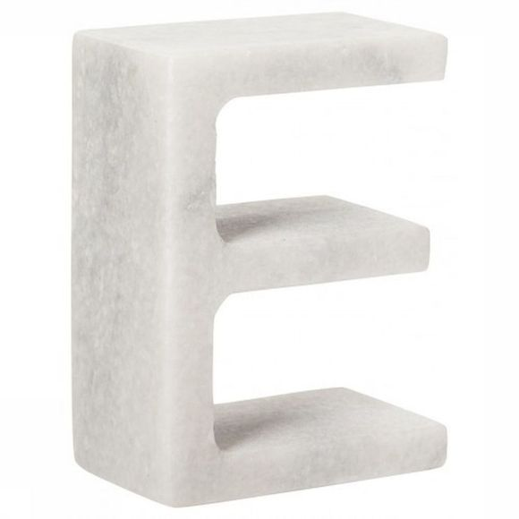 Yaya Home Decoratie  Marble Letter E Wit