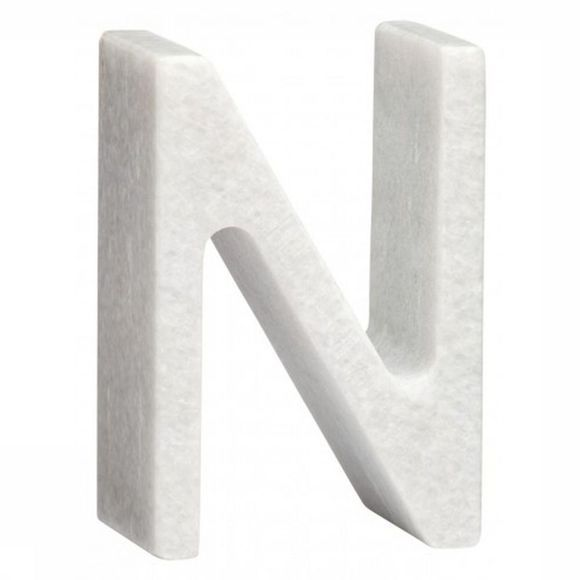 Yaya Home Decoratie  Marble Letter N Wit