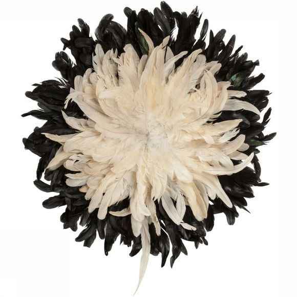 Yaya Home Decoratie  Feathered Wall Decoration Zwart/Wit