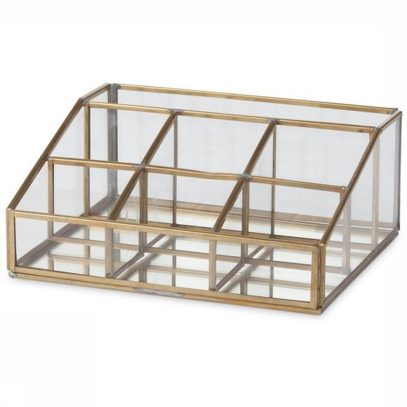 Yaya Home Woonaccessoire Glass Desk Organizer Brons
