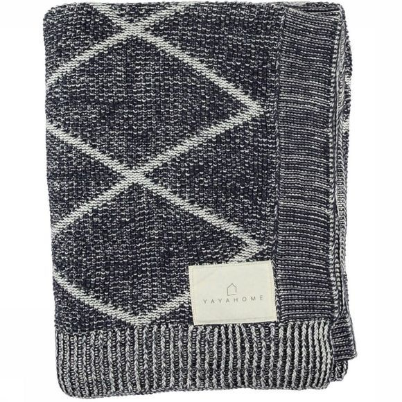 Yaya Home Plaid With Stitched Diamond Pa Donkerblauw