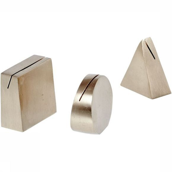 Yaya Home Accessoires Brass Card Holders Set Of 3 Shapes Geen kleur